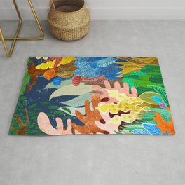 Night Forest, Whimsical Eclectic Quirky Illustration, Dark Botanical Nature Colorful Painting Rug