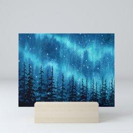 """""""Blue Aurora"""" watercolor landscape painting Mini Art Print"""