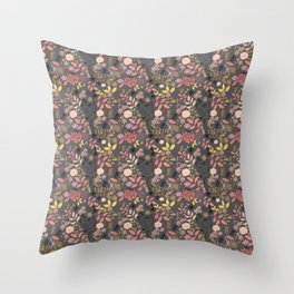 bird in floral forest Throw Pillow