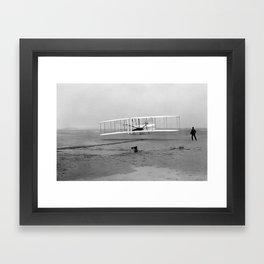 Wright Brothers First flight Kitty Hawk North Carolina December 17 1903 Framed Art Print