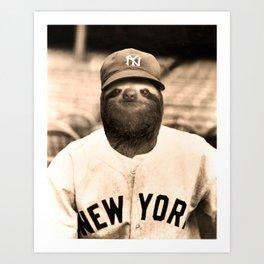 Baseball Sloth Art Print