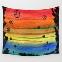 aliens Wall Tapestries featuring rainbow aliens by Squidfeathers