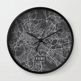 Rome Map, Italy - Gray Wall Clock