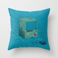 video game Throw Pillows featuring Old Video Game Console by ellygeh | Elly Medeiros