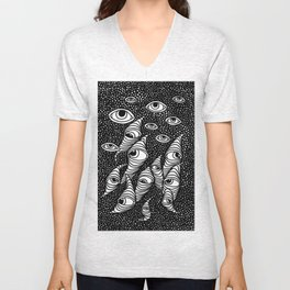 Darting Glances and Hooked Stares Unisex V-Neck