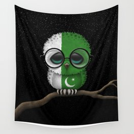 Baby Owl with Glasses and Pakistani Flag Wall Tapestry