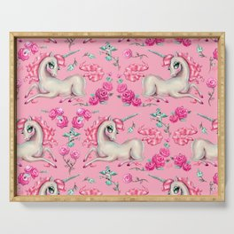 Unicorns and Roses on Pink Serving Tray