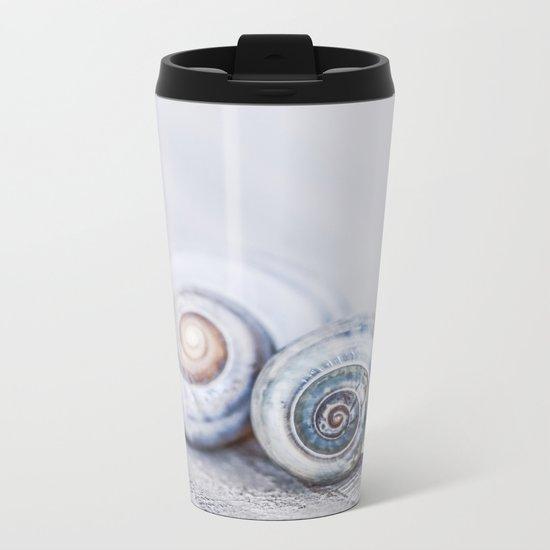 Blue Shells on white washed wood in soft pastel blues Metal Travel Mug