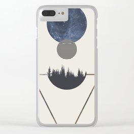 Minimalist Portrait of Space and Time Clear iPhone Case