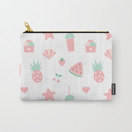 summer pattern with watermelon, pineapple, ice cream, heart, starfish, cherry, strawberry, shellfish Carry-All Pouch