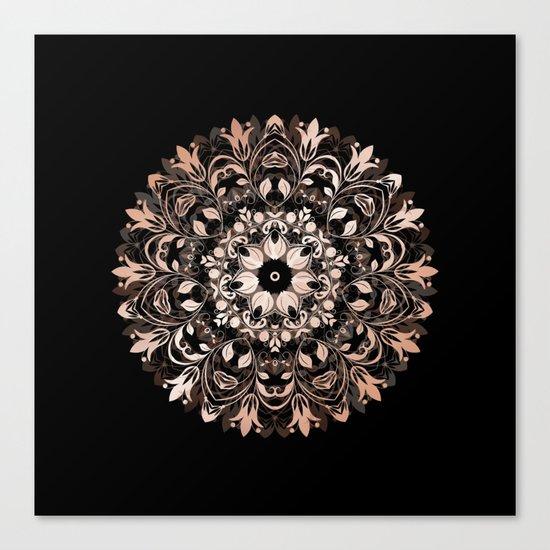 Rose Gold Floral Mandala On Black Canvas Print