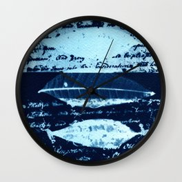 Letter and Leaves (III), collage, blue print, cyanotype print, wall art, wall decor Wall Clock