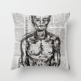 Strategy - Charcoal on Newspaper Figure Drawing Throw Pillow