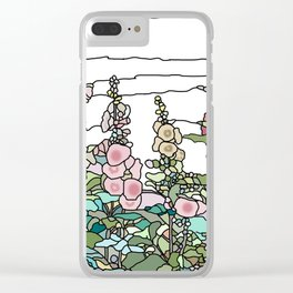 flowers and leaves on white background Clear iPhone Case