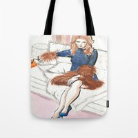 kendrick lamar Tote Bags featuring Anna Kendrick  by Kim Ly