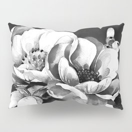 Floral Portrait-black and white Pillow Sham