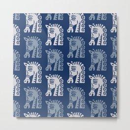 Mid Century Horse Pattern Blues Metal Print