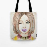 2ne1 Tote Bags featuring Minzy Gong (2NE1) by Hileeery