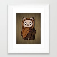 ewok Framed Art Prints featuring Cartoon Ewok by Team Rapscallion