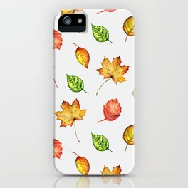 Hand painted green gold brown red Autumn leaves iPhone Case
