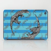 otters iPad Cases featuring Swimming Otters by Curious Nonsense.
