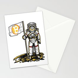 Bitcoin Astronaut To The Moon BTC Blockchain Gift Stationery Cards