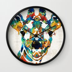Colorful Giraffe Art - Curious - By Sharon Cummings Wall Clock