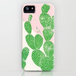 Linocut Cacti Family iPhone Case