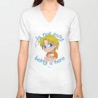 hetalia V-neck T-shirts featuring Baby Hero by Jackce