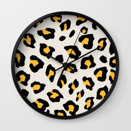 Leopard Print - Mustard Yellow Wall Clock