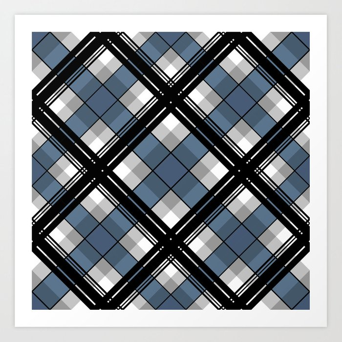 Black and blue tartan Kunstdrucke