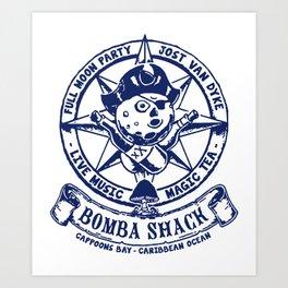 Bomba Shack Vintage Reggae Bar Pub Jamaica Caribbean Bar Nautical Symbols Sailing Beer Pot Marijuana Art Print