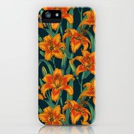 Orange lily flowers iPhone Case