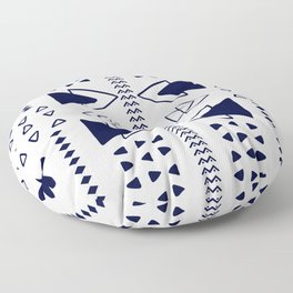 Navy and White Geometric Pattern Floor Pillow
