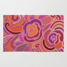 Rose fragments, pink, purple and orange Rug