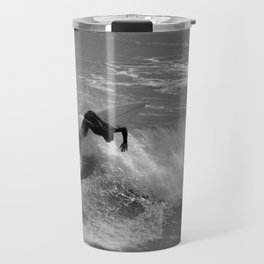 Winter surfing in Cantabria. Travel Mug
