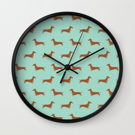 Red Dachshund Chocolate Tan Sausage Dog on Mint Green Background Dog Pattern for Dog Lover Wall Clock