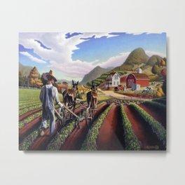 Farmer Cultivating Peas Farm Landscape Metal Print