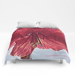 Red Flower in Vermont Winter Comforters