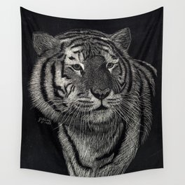 Scratchboard Tiger Wall Tapestry