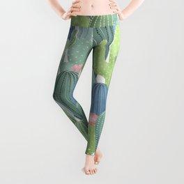 Cacti Love / Watercolor Cactus Pattern Leggings