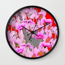MODERN FUCHSIA  PINK FLOWERS  GREY & RED ABSTRACT ART Wall Clock