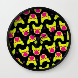 french bulldog - blk pattern Wall Clock
