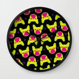 french bulldog - blk pattern Wall Clock