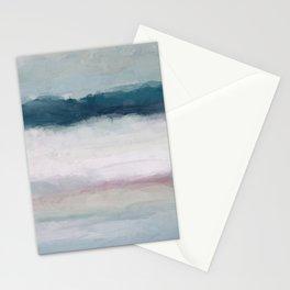 Dark Teal Blue, White, Pink, Light Blue Modern Wall Art, Ocean Waves Diptych Nursery Beach Decor Stationery Cards