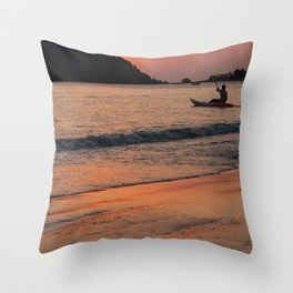 Kayaking at Sunset Palolem Throw Pillow