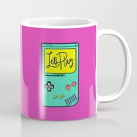 gameboy Mugs featuring Let's Play GameBoy by Chelsea Herrick