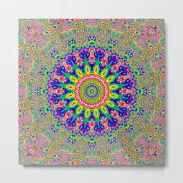 Warped Rainbow Kaleidoscope Metal Print