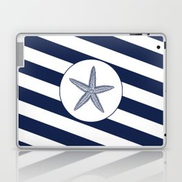 Nautical Starfish Navy Blue & White Stripes Beach Laptop & iPad Skin
