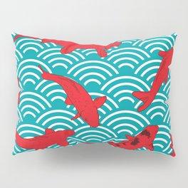 Koi carp. Red fish. black outline sketch doodle. azure teal burgundy maroon Nature oriental backgrou Pillow Sham